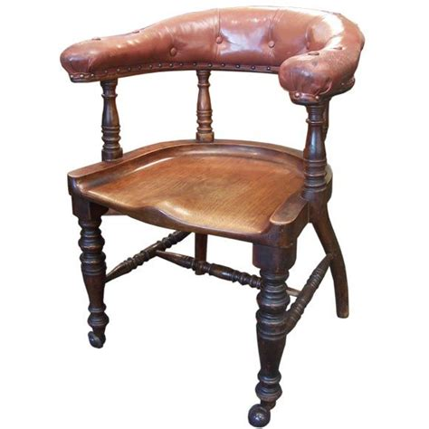wood and leather desk chair antique desk chair leather and wood at 1stdibs
