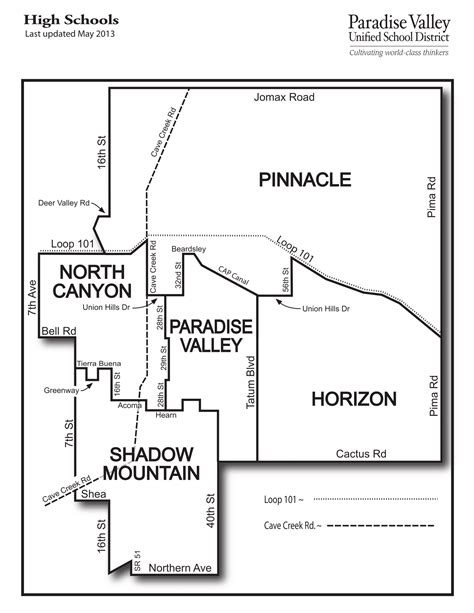 paradise valley az unified school district school boundary maps
