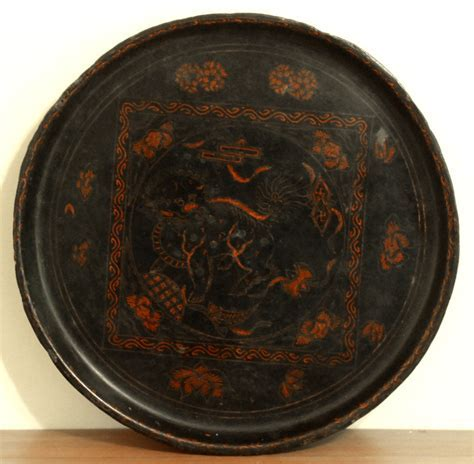 Asian Decor: Antique Chinese Black Lacquered Tray