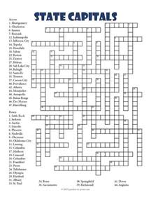 State Capitals Crossword Puzzles Printable