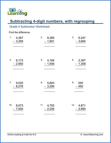 fourth grade math subtraction worksheet grade 4 math worksheet subtraction subtracting 4 digit