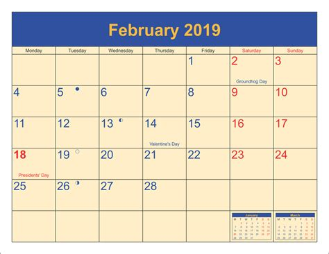 feb  holidays calendar  moon phases calendar