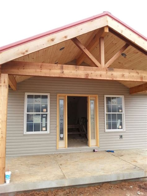 open gable cedar front porch ournewhome front porch addition house  porch farmhouse