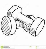 Dumbbells Vector Hand Pair Drawn Illustration sketch template