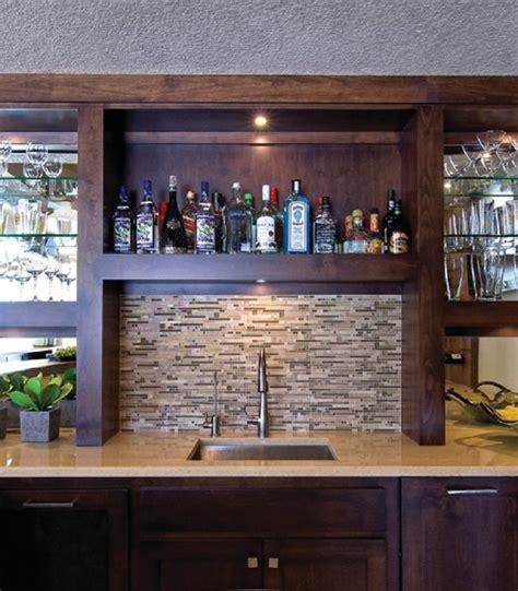 Basement Wet Bar Sink With Tile Backsplash, Home Wet Bars