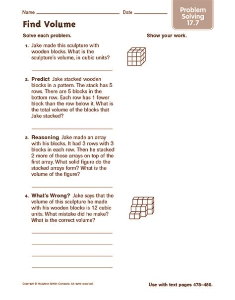 worksheets volume word problems worksheet chicochino mass