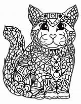 Zentangle Coloring Pages Easy Cat Cats Printable Colouring Animals Adult Colour Print Getcolorings Books Mandala Getcoloringpages Disney Template Fun sketch template