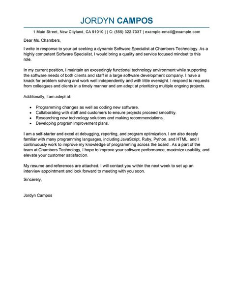 software specialist cover letter exles computers