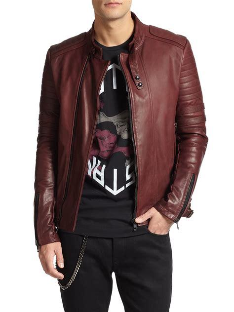 leather apparel lyst diesel black gold leather biker jacket in red for men