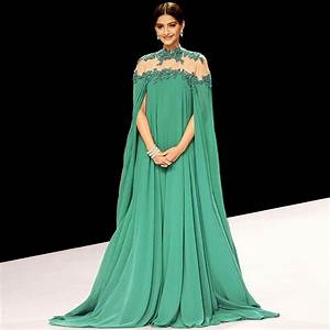 Sexy Long Green Prom Dress High Neck Arabic Evening Gowns ...