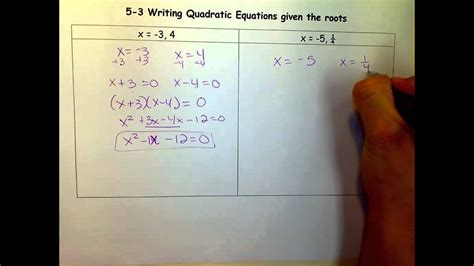 writing quadratic equations given the roots mov youtube