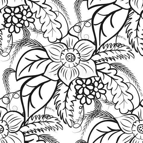 zwart wit bloemen naadloos patroon grote bloemen en bladeren op een witte achtergrond vector