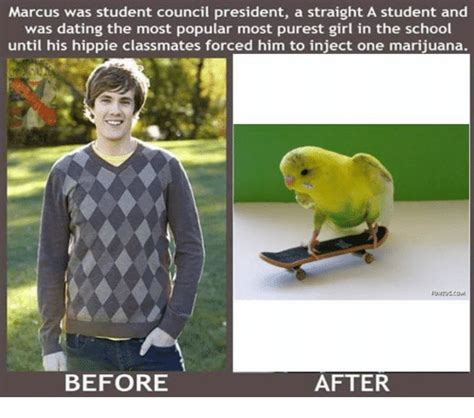 Injecting Marijuanas Meme - marcus was student council president a straight a student and was dating the most popular most
