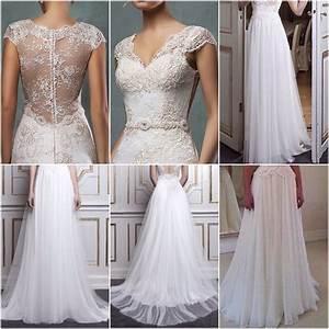 lace top and beach chiffon bottom combined bridal dress With chiffon and lace wedding dress