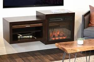 Wall Mount Floating TV Media Stand With Fireplace - Small