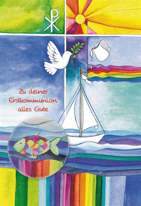 postkarte mit glasmagnet zu deiner erstkommunion alles gute