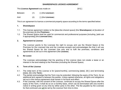 Commercial Property Licence Agreement Template Costumepartyrun