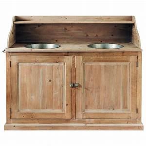 meuble double vasque en bois et zinc effet vieilli l 150 With produit pour decaper meuble en bois