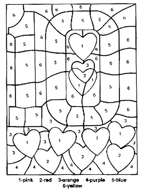 valentines coloring pages number ten color  numbers
