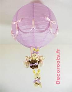Lustre Montgolfière Bebe : lampe montgolfi re enfant b b lapin violet parme rose beige ivoire enfant b b luminaire ~ Teatrodelosmanantiales.com Idées de Décoration