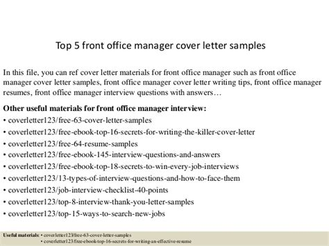 Cover Letter For Front Desk Manager by Top 5 Front Office Manager Cover Letter Sles