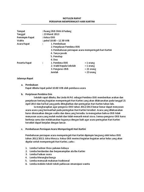 Contoh Notulen Rapat Perusahaan Sederhana by Contoh Notulen Rapat Kantor Sekolah Osis Diskusi Dan