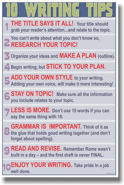 New Poster  10 Writing Tips  School Language Arts & Writing Classroom Aid Ebay