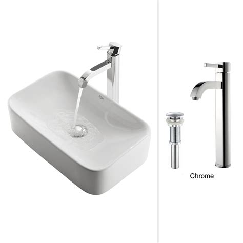 vessel sink and faucet shop kraus white ceramic chrome vessel rectangular