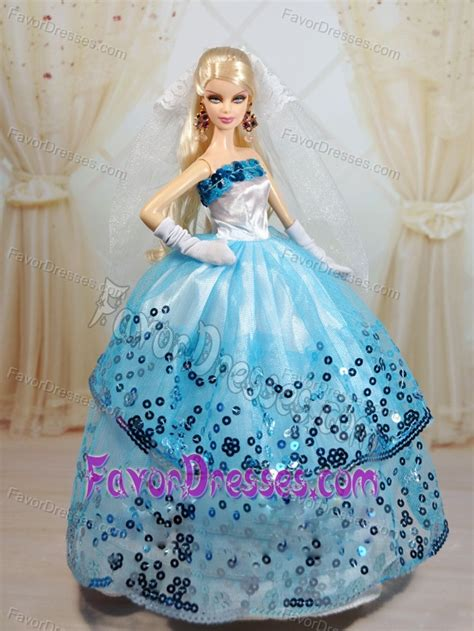 popular ball gown party clothes white  blue barbie doll