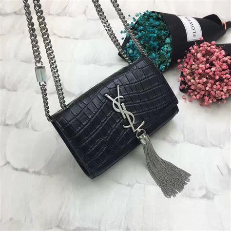 ysl tassel chain bag cm croco black silver  replica ysl
