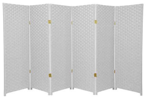 Four Ft. Tall Woven Fiber Room Divider White Six Panel