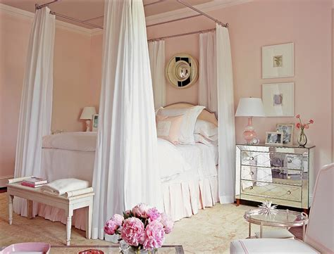 blush pink bedroom transitional with chic bedroom