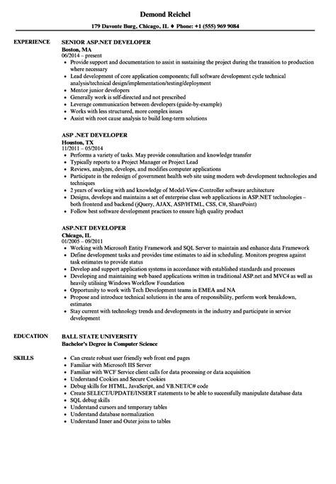 aspnet developer resume samples velvet jobs