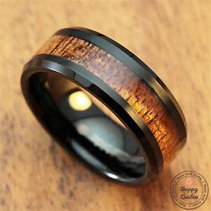 black tungsten carbide bevelled edge ring with koa wood inlay With koa wood mens wedding ring