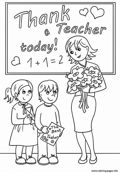 Teacher Coloring Pages Thank Today Printable Appreciation