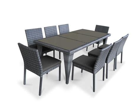9 wicker outdoor patio dining set gray wicker