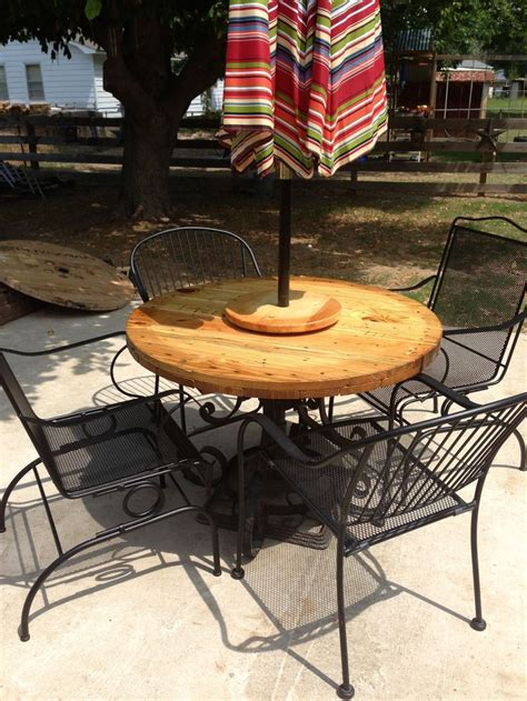 lazy susan for umbrella table old wrought iron table base end of wire spool another