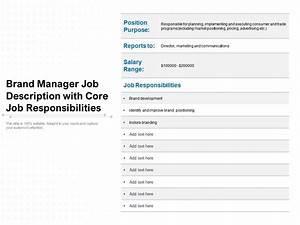 Brand Manager Job Description With Core Job
