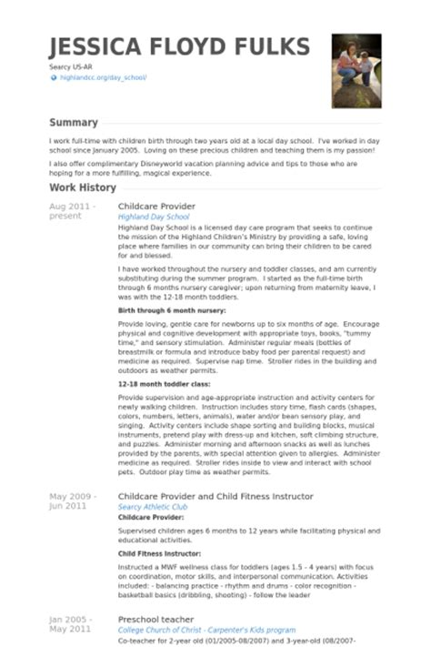 childcare provider resume sles visualcv resume