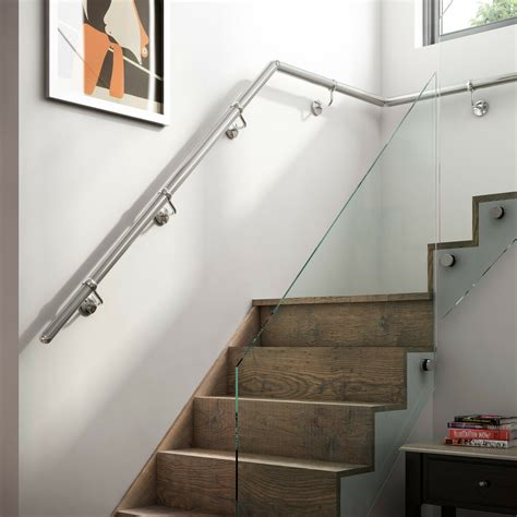 fitting banisters 2 4mtr brushed nickel metal handrail banister all