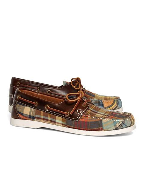 Brooks Brothers Boat Shoes by Brooks Brothers Madras Boat Shoes In Multicolor For Men