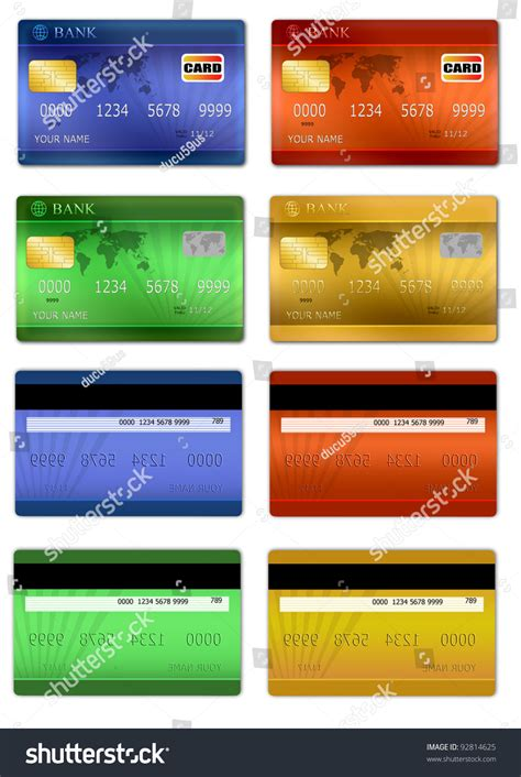 set color credit card front  stock vector