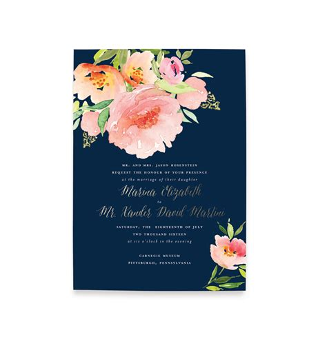 floral watercolor wedding invitation blush paper