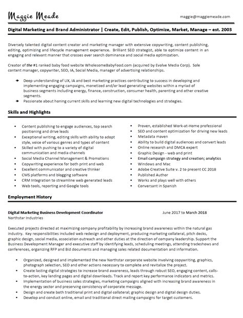 Resume Content Creator by Maggie Meade Resume Maggie Meade Author Digital