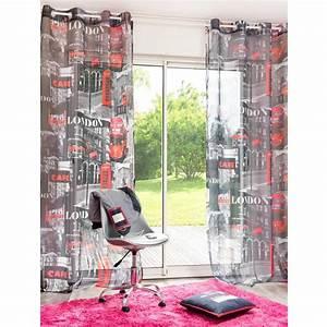 Rideau Rouge Et Noir : rideau illets noir rouge 140 x 250 cm london maisons du monde ~ Teatrodelosmanantiales.com Idées de Décoration