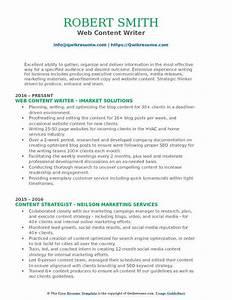 Web Content Writer Resume Samples
