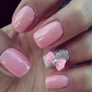 Pink gelish nails with pink bow | Nails | Pinterest ...