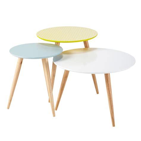 Table Gigogne Scandinave 3 Tables Basses Gigognes Vintage Multicolores L 40 Cm 224 L 60 Cm Fjord Maisons Du Monde