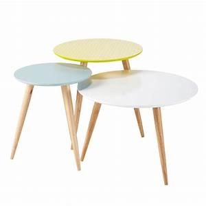 Tables Gigognes Ikea : 3 tables basses gigognes vintage multicolores l 40 cm l 60 cm fjord maisons du monde ~ Teatrodelosmanantiales.com Idées de Décoration