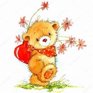 Saint-Valentin. fond de carte avec un mignon nounours et ...
